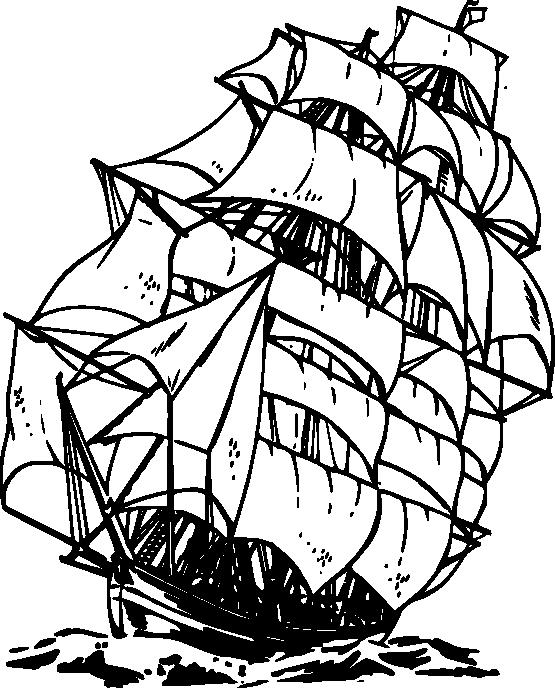 Clipper black white line. Coloring clipart ship