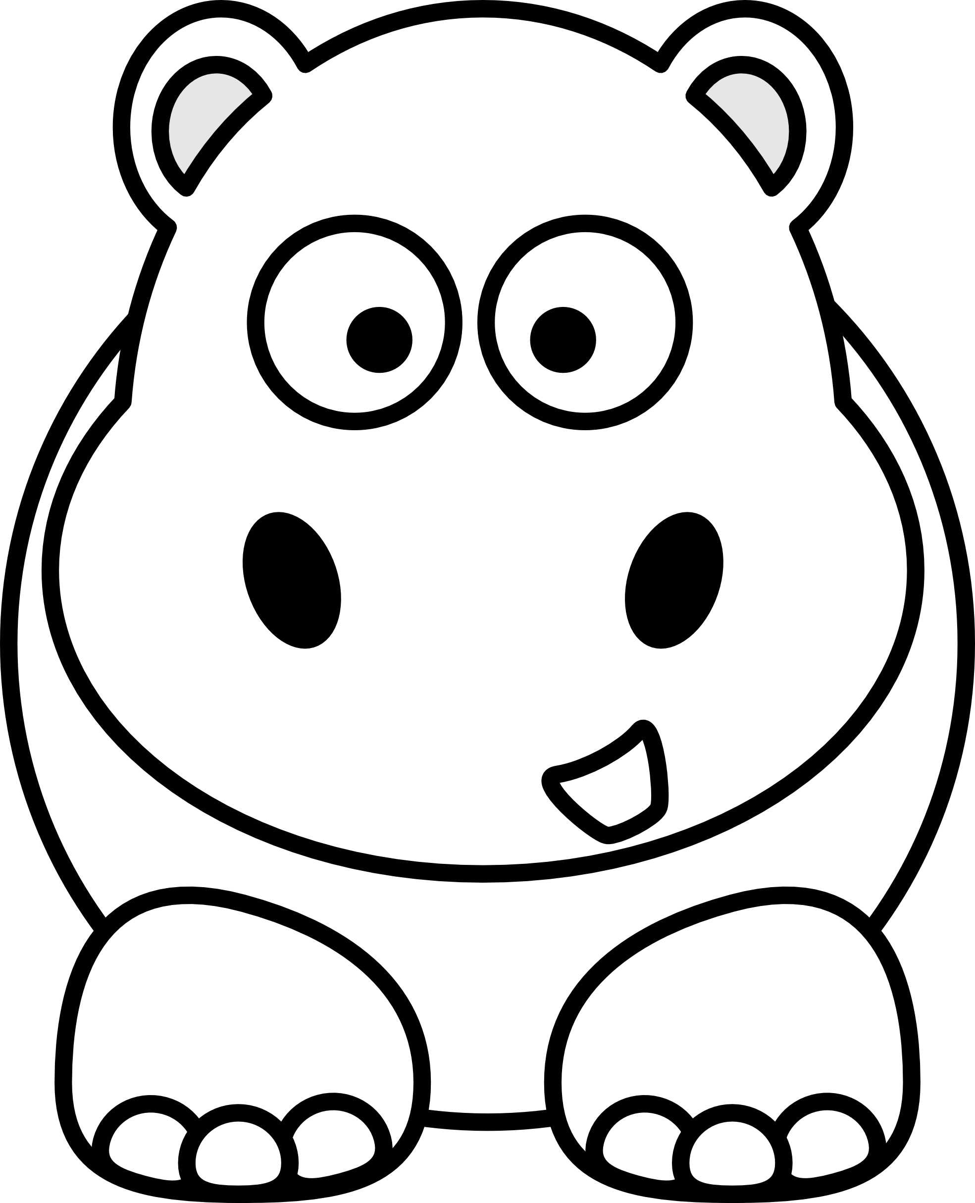 Hippo clipart drawn. Mouth coloring pages printable