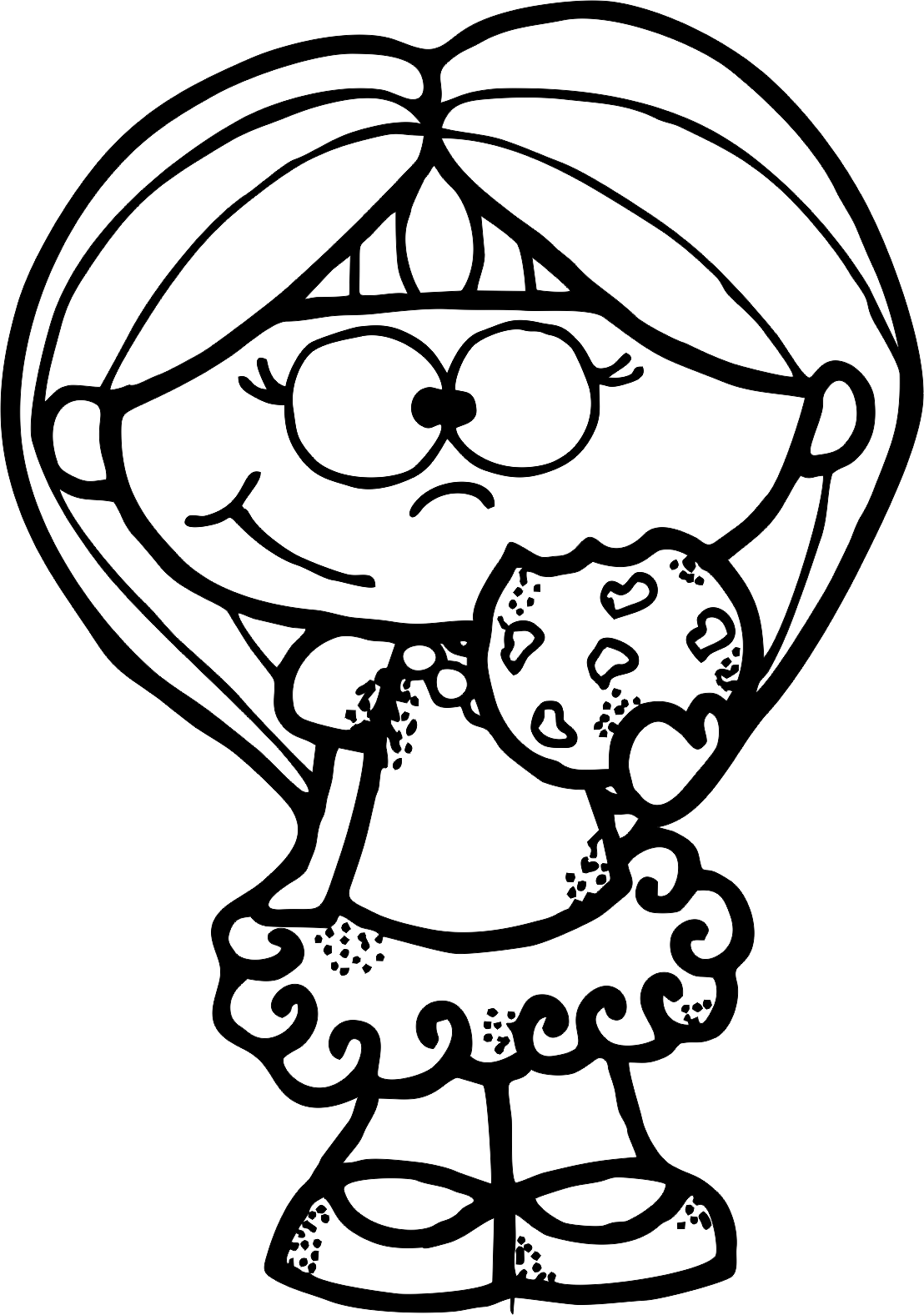 Coloring clipart shopkins. Cookie girl bw png