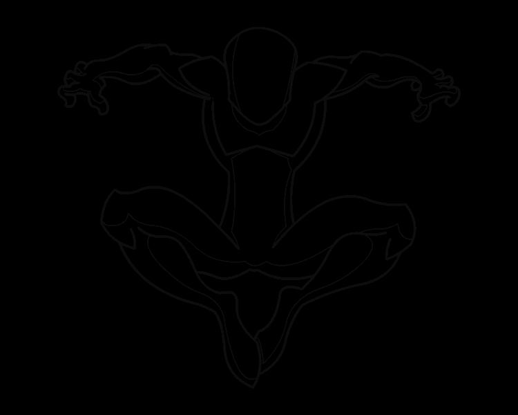 Hand clipart spiderman. Female superhero drawing template
