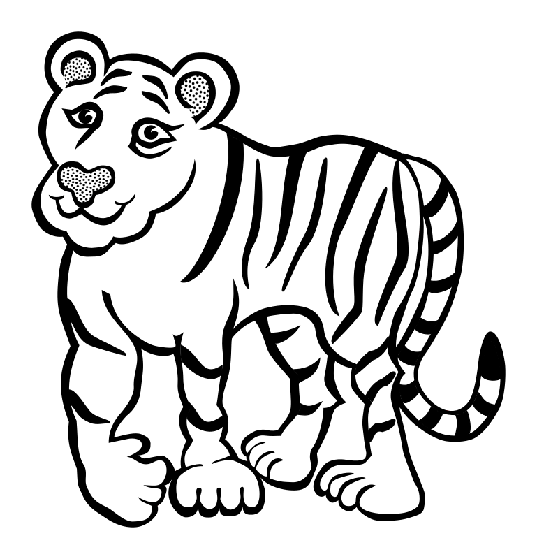 Lineart medium image png. Coloring clipart tiger