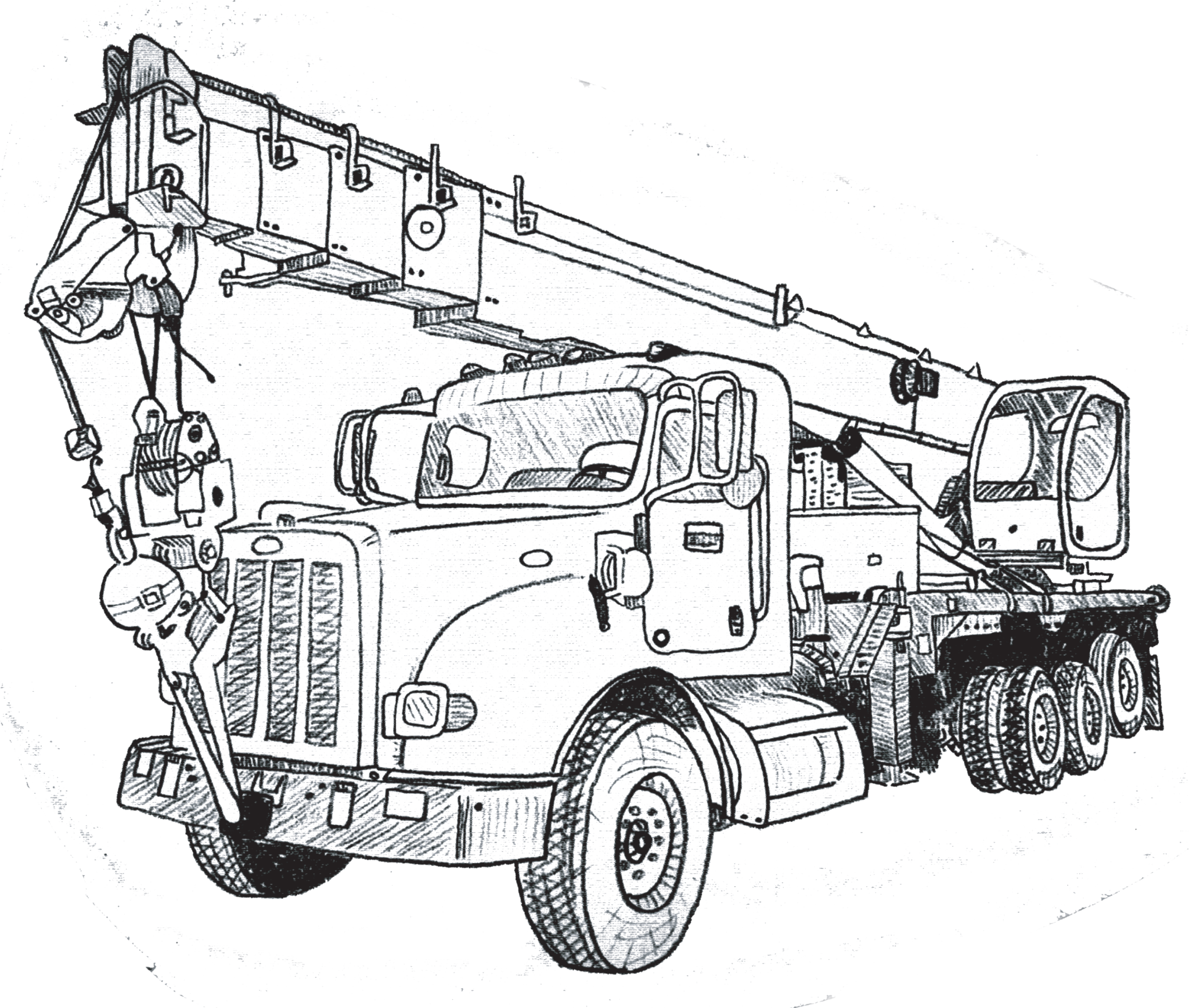 Crane truck drawing at. Excavator clipart sketch