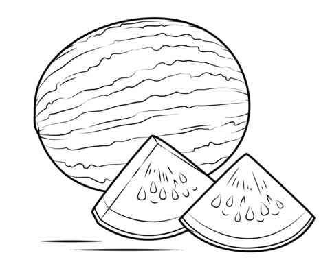 Watermelon clipart coloring page. Free printable pages