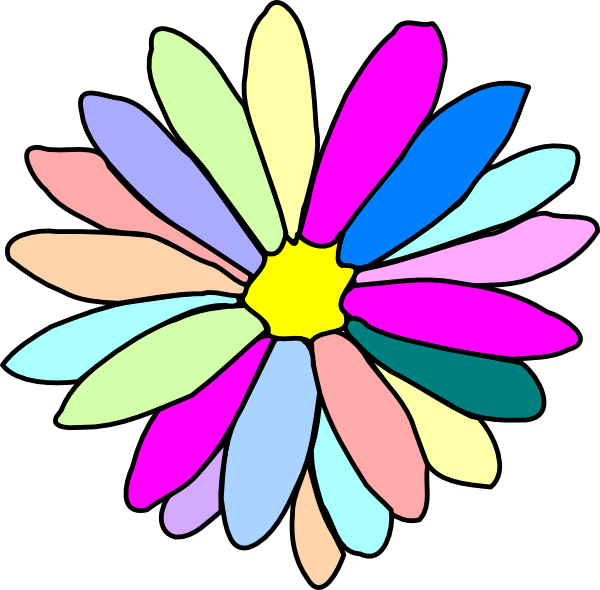 Colors clipart animated. Colorful flower clip art