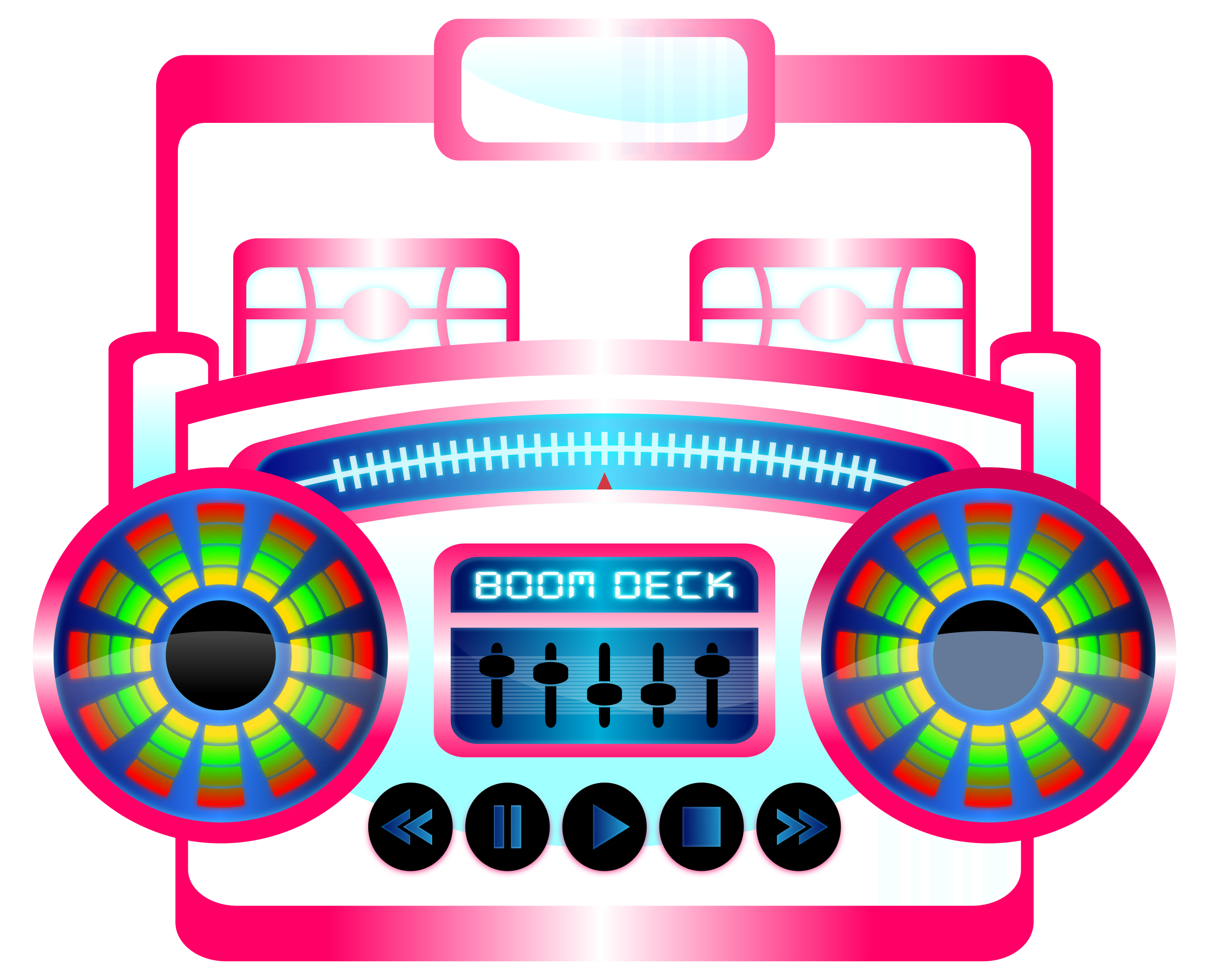 Mini boom box fuschia. Electronics clipart kid electronics