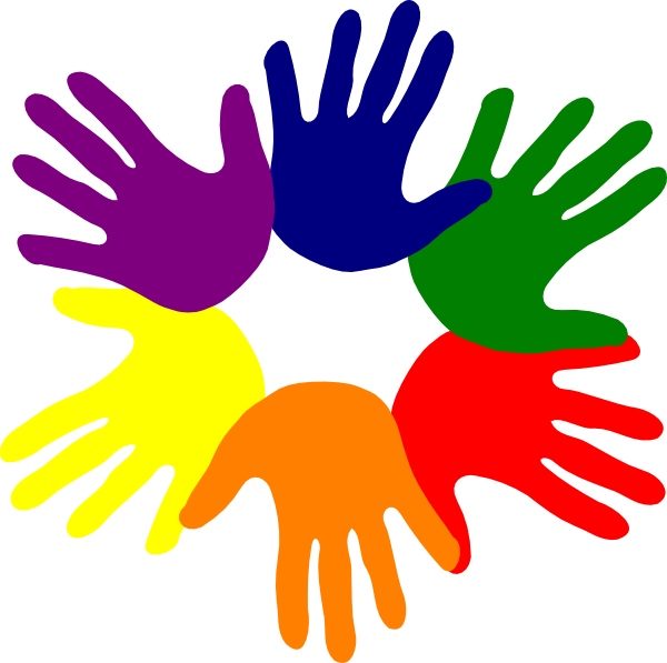 Hands various colors clip. Handprint clipart large hand