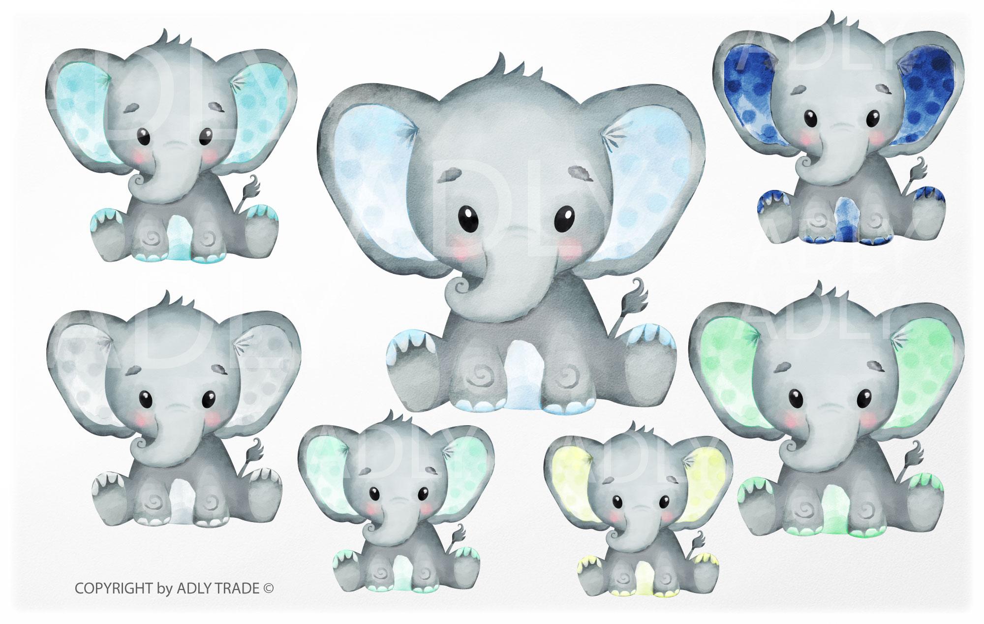 Watercolor elephant . Colors clipart boy
