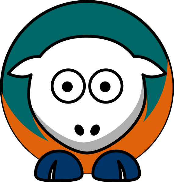 Sheep toned miami team. Dolphins clipart colorful