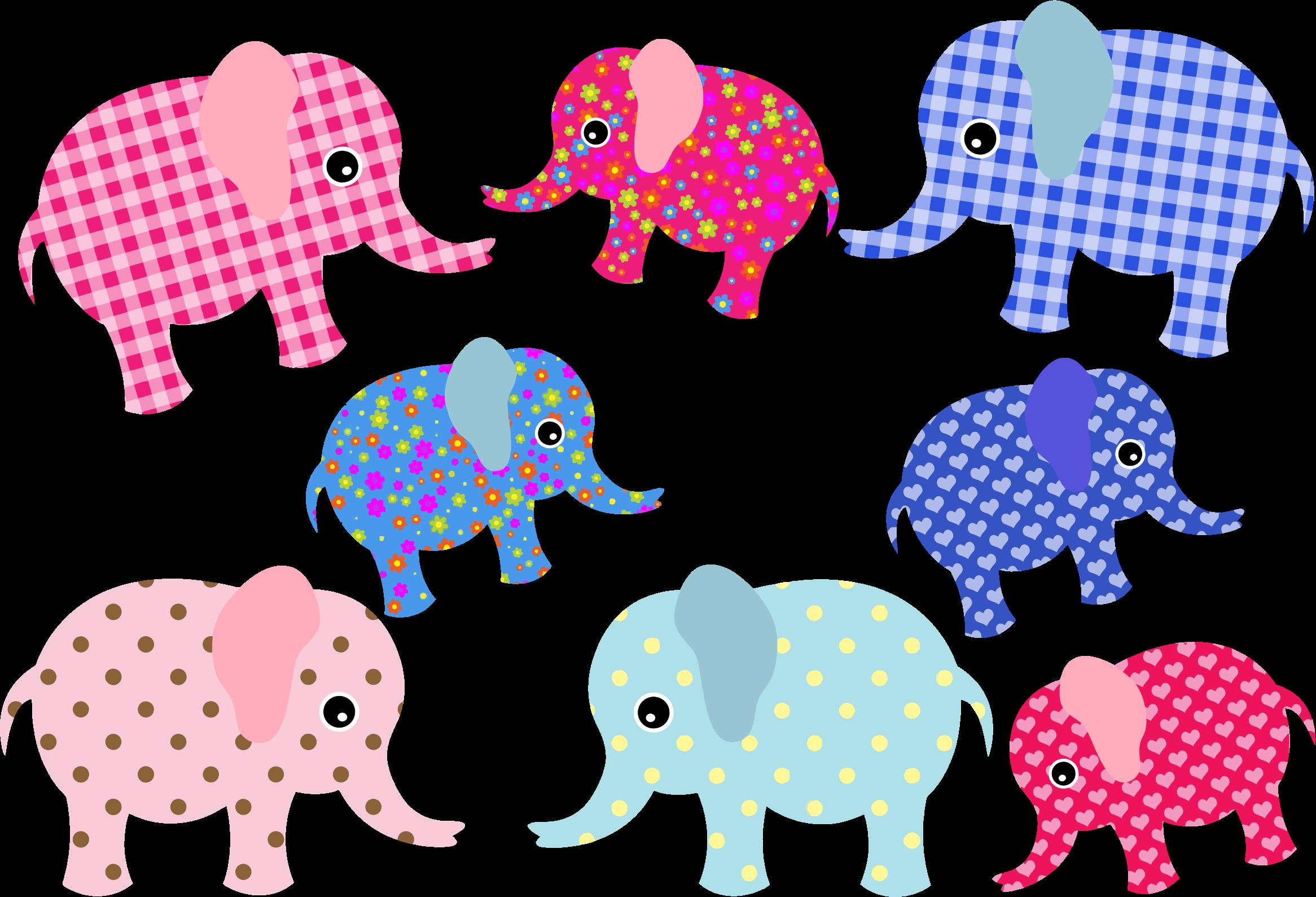 Colorful retro elephants icons. Colors clipart elephant