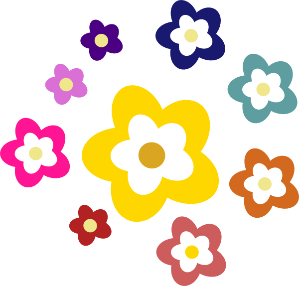 Colors clipart flower. Flowers in various clip