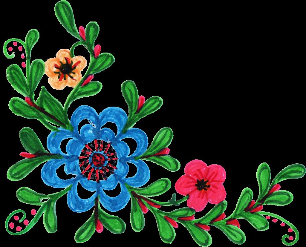 colorful flower corner. Square clipart floral
