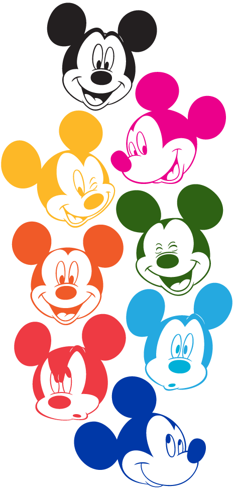 Colors clipart mouse. Mickey faces in technicolor