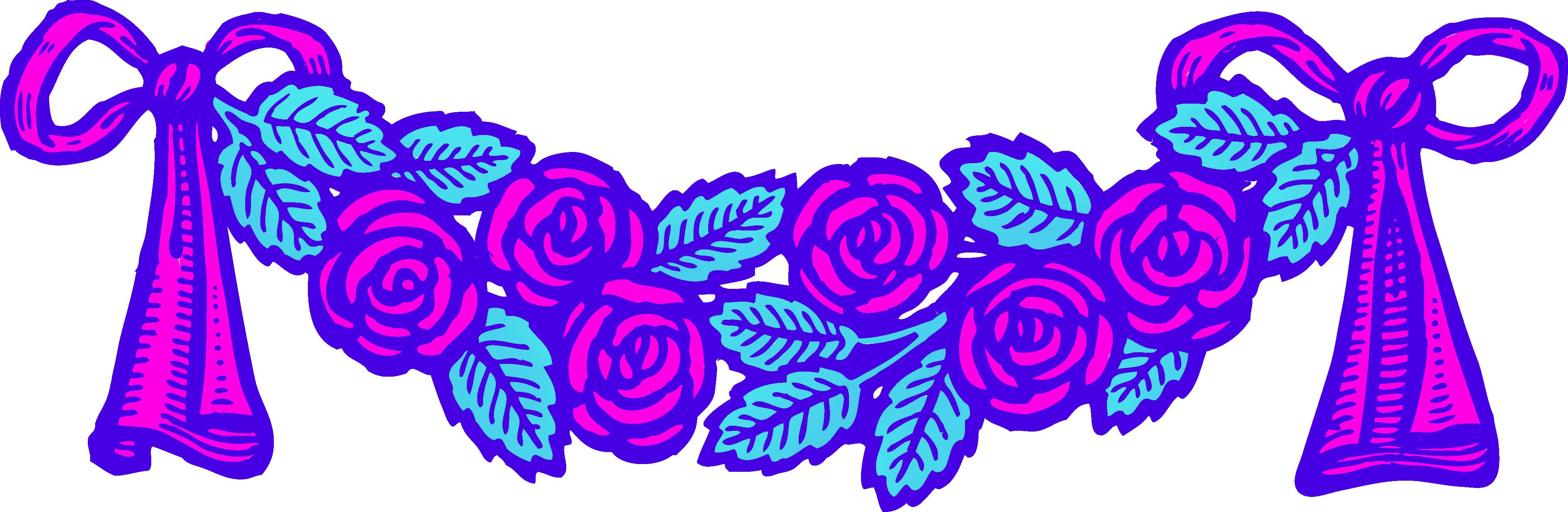 Vintage roses clip art. Colors clipart neon
