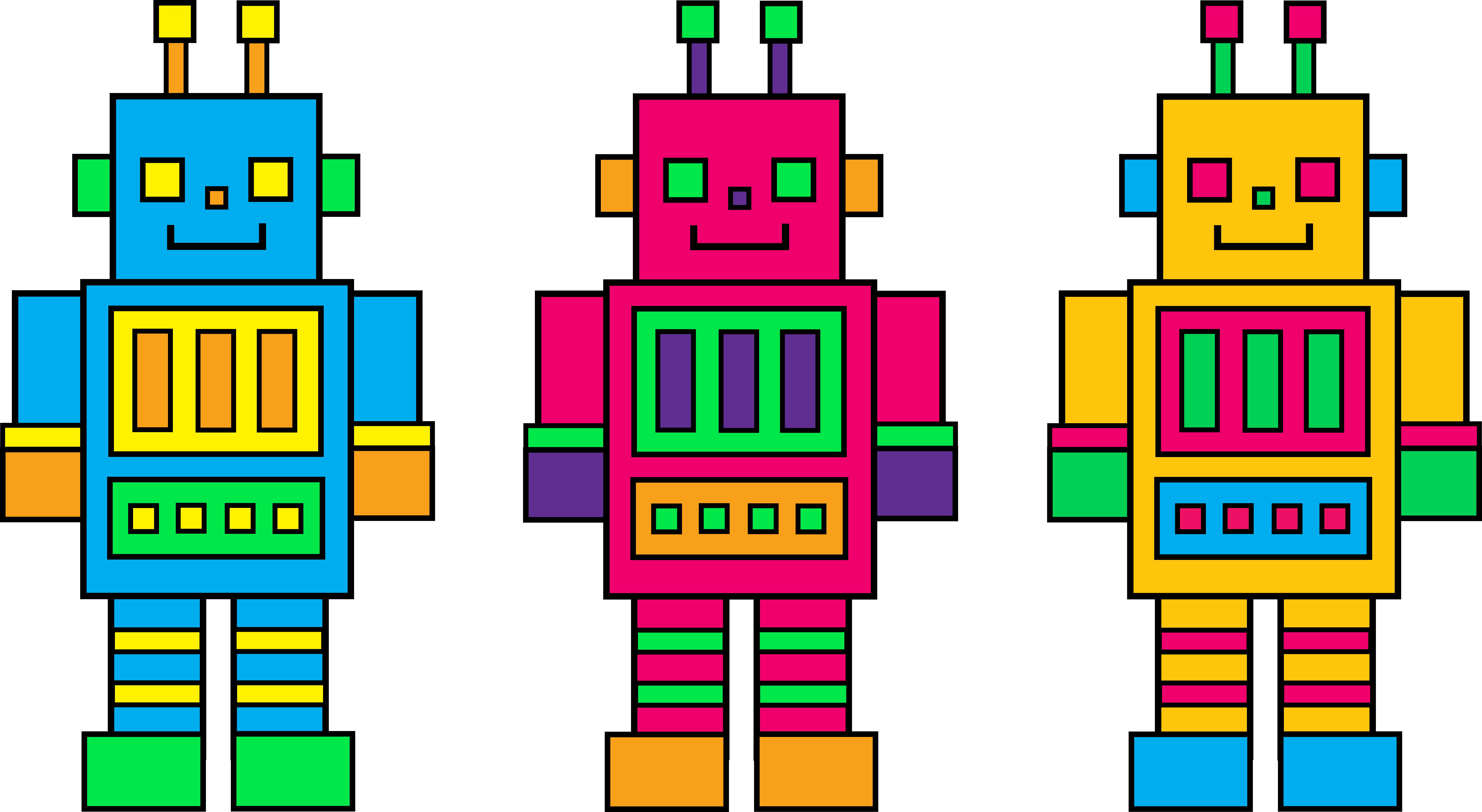 Three colorful little robots. English clipart border