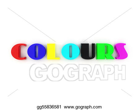 Colors clipart word. Stock illustrations from of