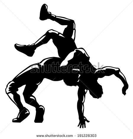 Vector silhouette black color. Wrestlers clipart single