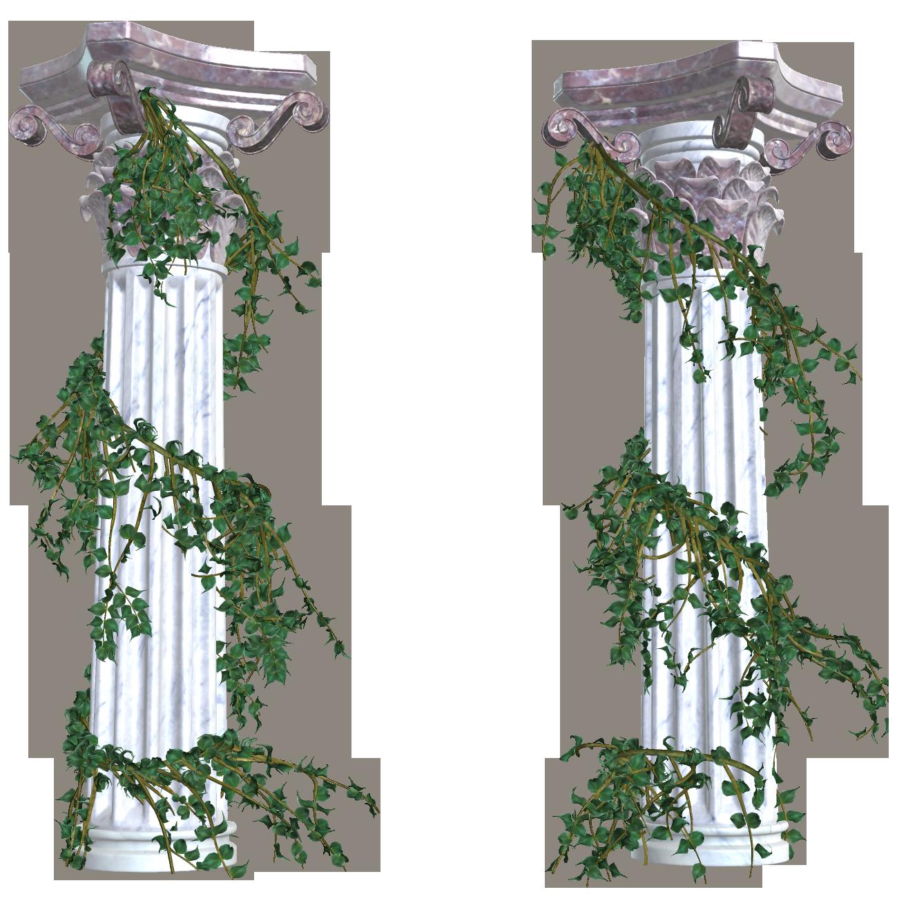 Beautiful columns with vines. Column clipart flag greek
