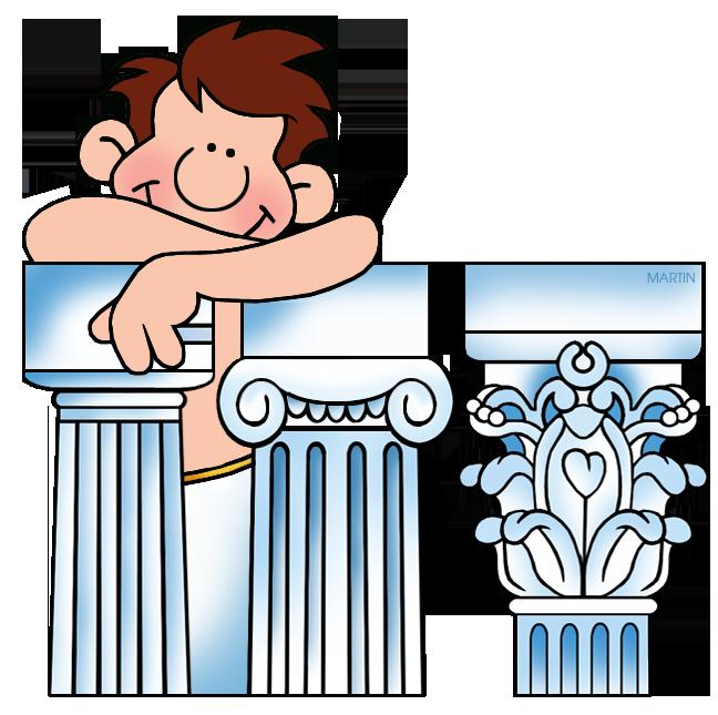Greek and roman gods. Column clipart greece ancient