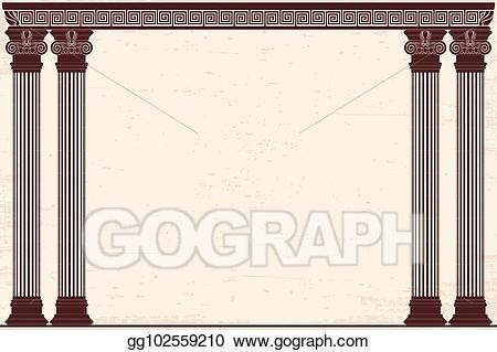 Vector illustration ancient stock. Column clipart greek background