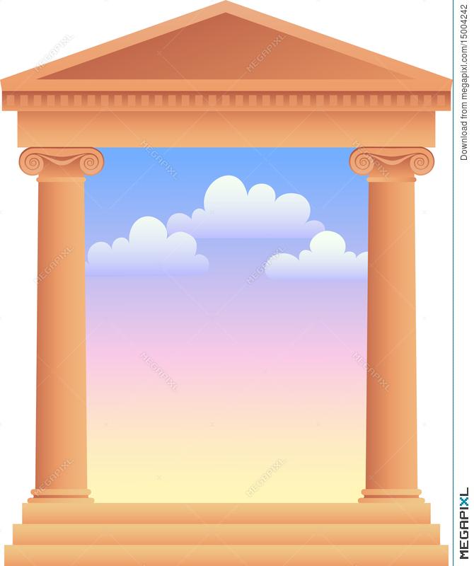 Column clipart greek background. Columns with sky ai