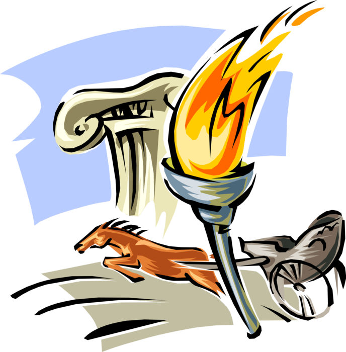 Greece chariot and olympic. Torch clipart ancient