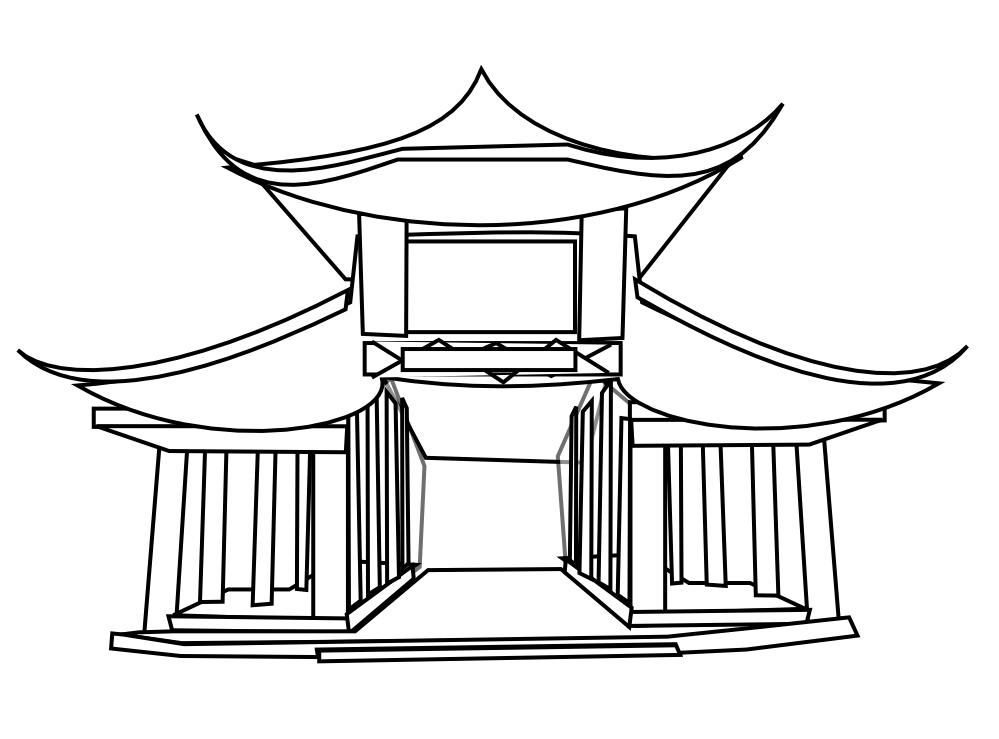 China temple chinese cuisine. Hut clipart bahay