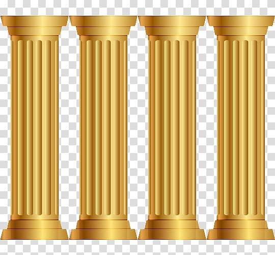 Four brown pillars logo. Column clipart pillers