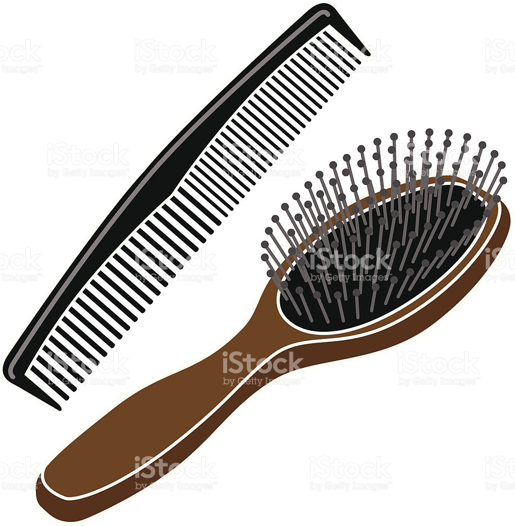 Group hairbrush and in. Comb clipart