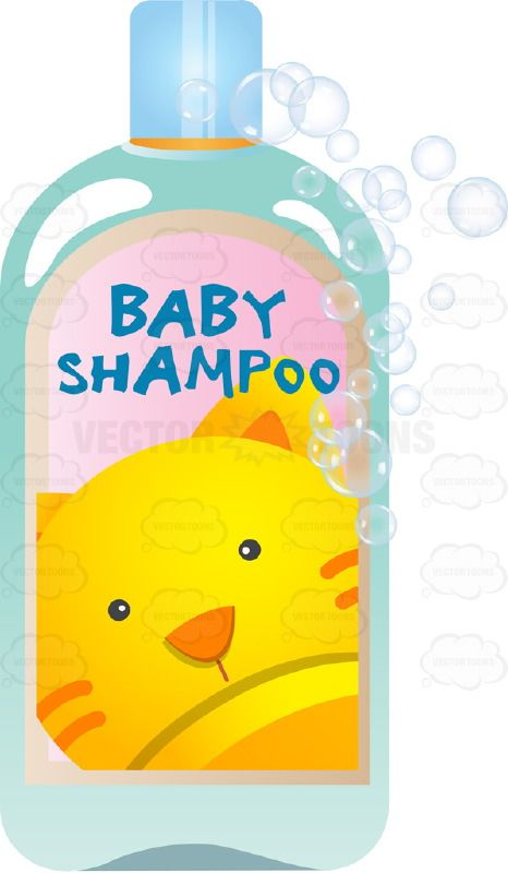 Blue bottle with picture. Comb clipart baby shampoo