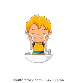 Free . Comb clipart boy washing face