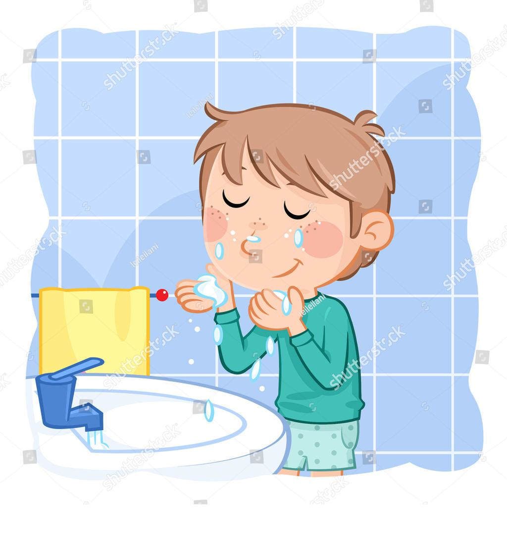 Comb clipart boy washing face. Free cliparts