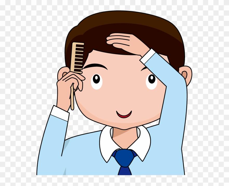 Boy combing clip art. Comb clipart combed hair