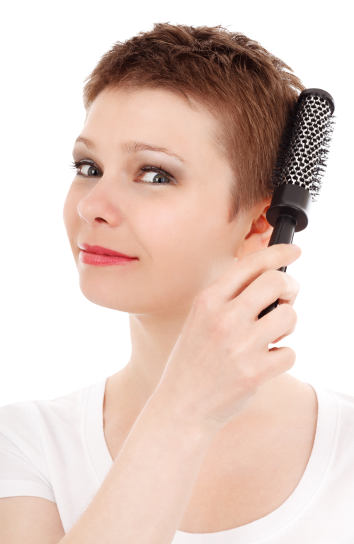 Woman combing her png. Comb clipart combed hair