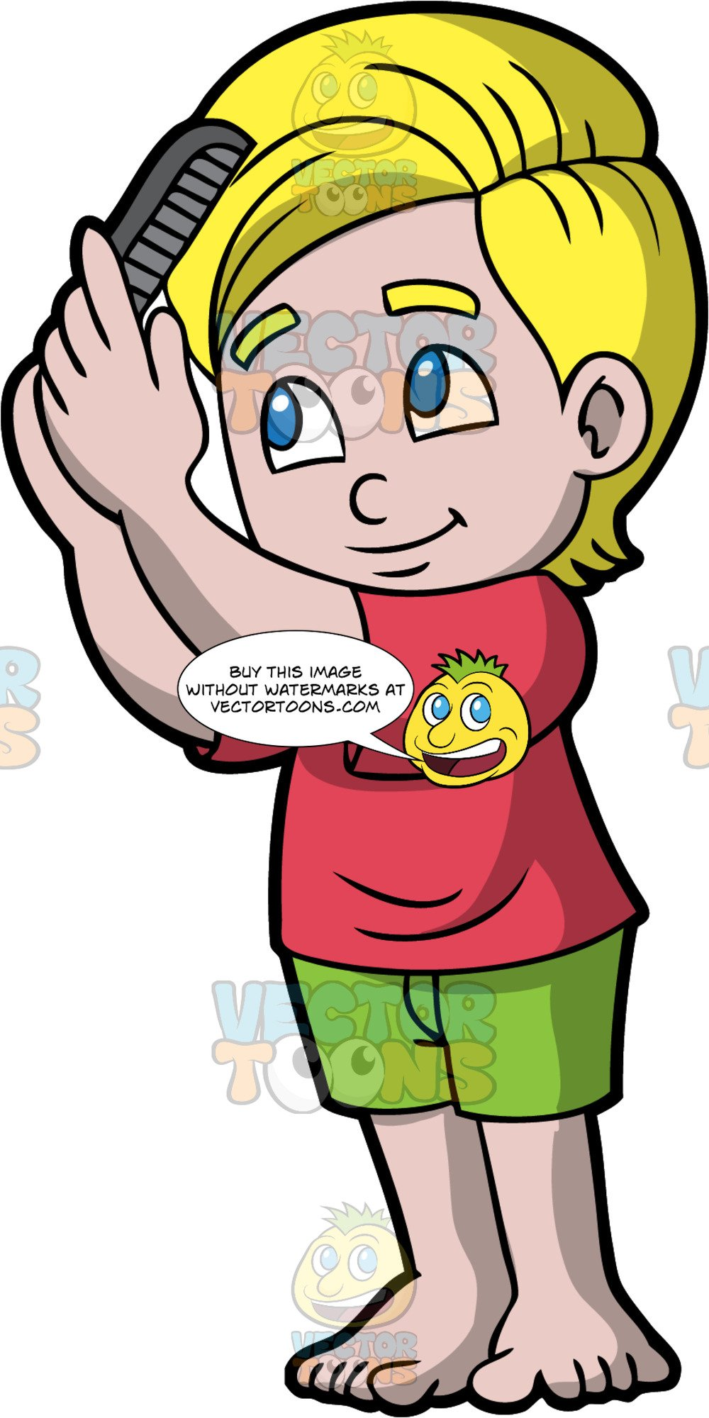 Comb clipart combed hair. A boy combing his