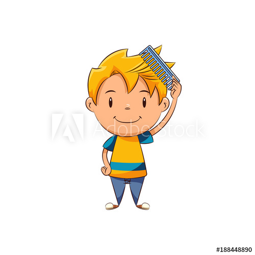 Kid combing buy this. Comb clipart combed hair