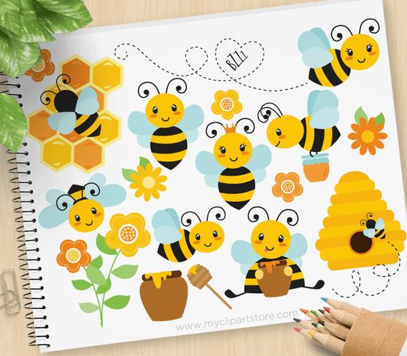 Buzzy bumble bees bee. Comb clipart cute