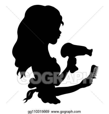 Stock illustration girl with. Comb clipart cute