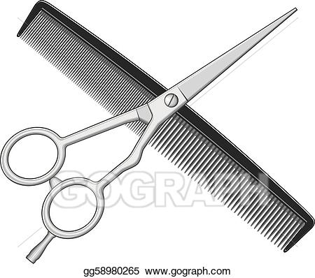 Comb clipart drawing. Vector art scissors and