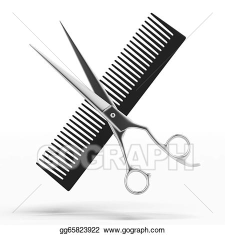 Scissors and gg . Comb clipart drawing