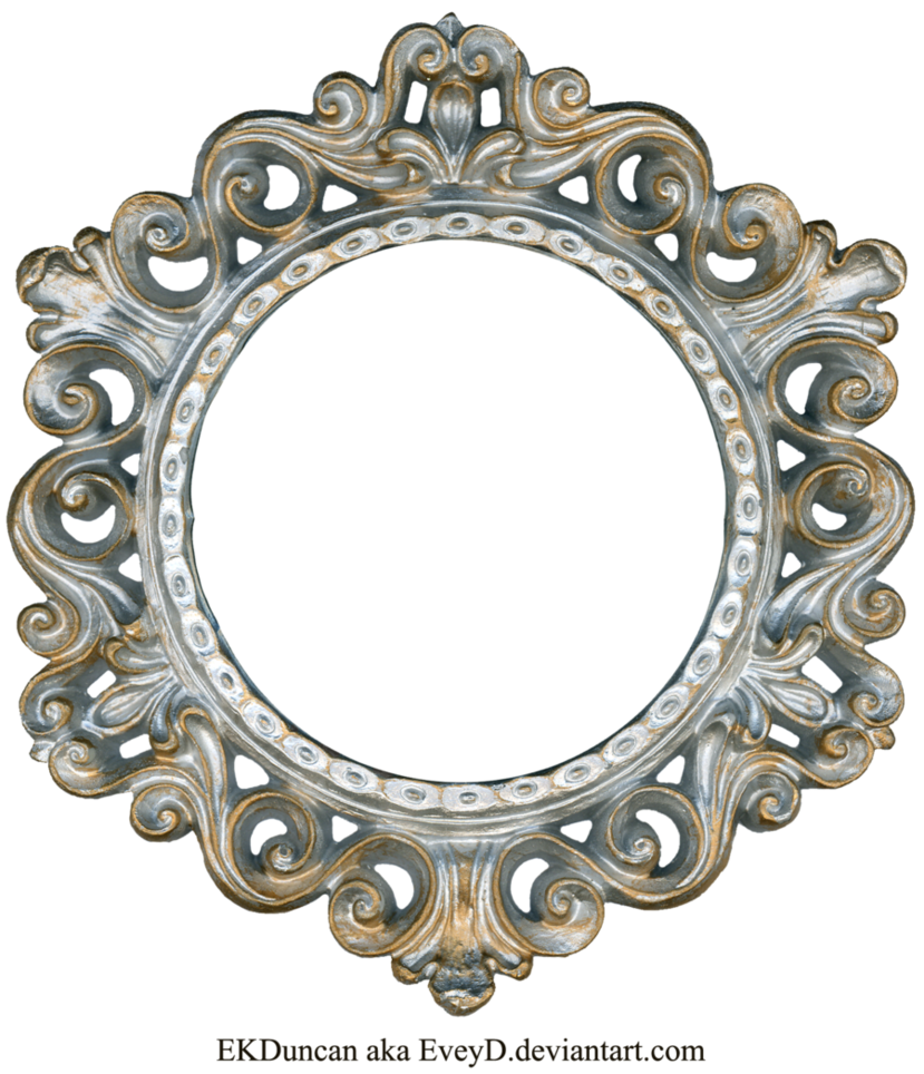 Ornate silver and gold. Comb clipart mirror