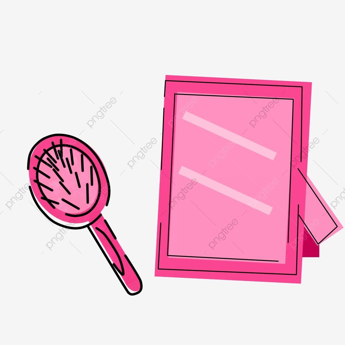 Pink beautiful . Comb clipart mirror