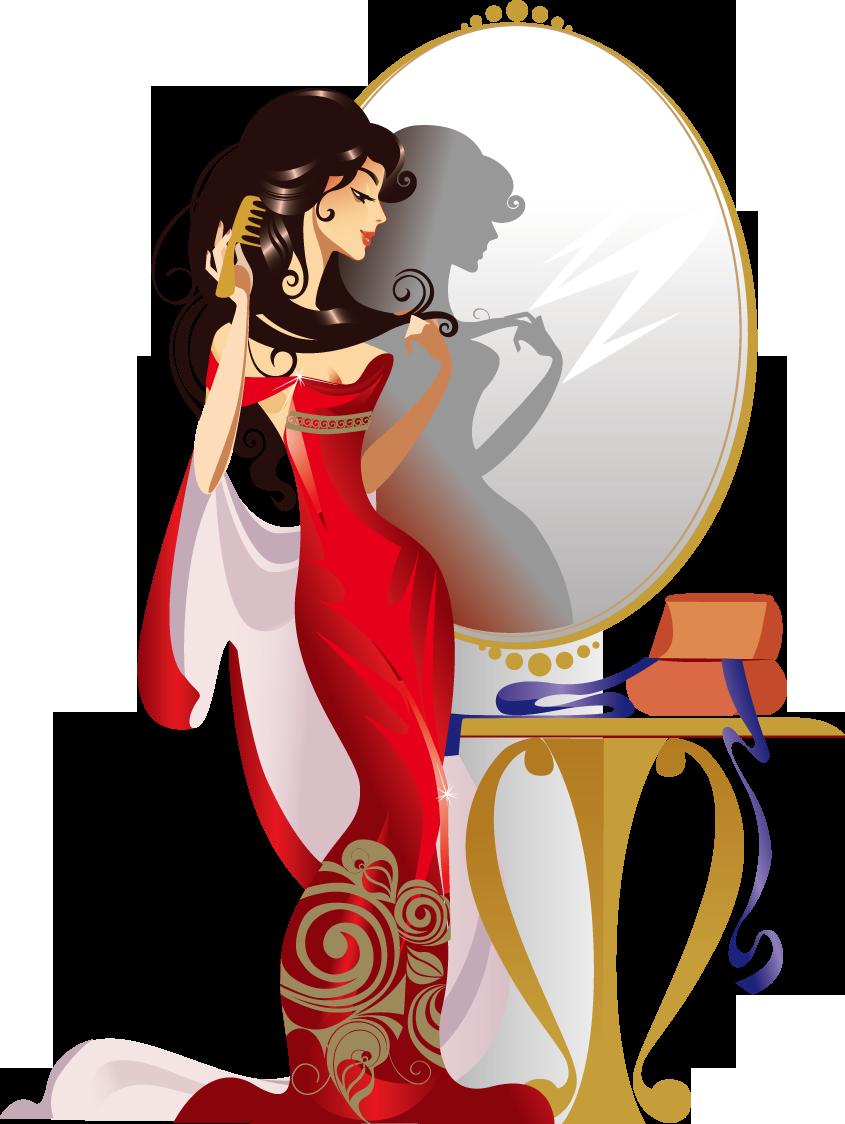 Comb clipart mirror. Cartoon girl illustration makeup