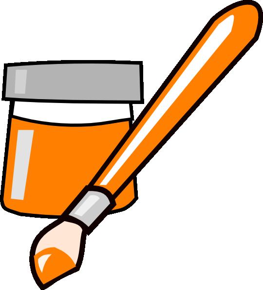 Paintbrush clipart orange. Paint clip art at
