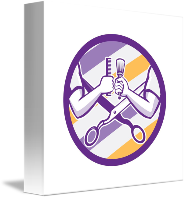 Barber hand brush scissors. Purple clipart comb