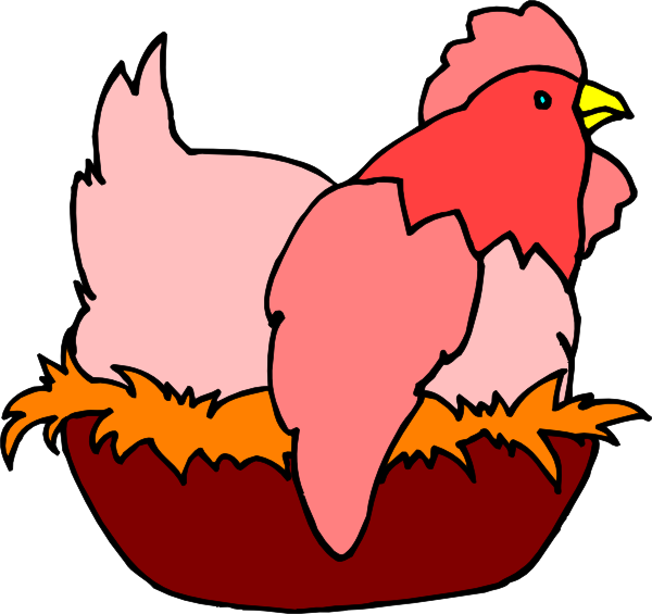 Red Chicken In A Nest Clip Art at Clker
