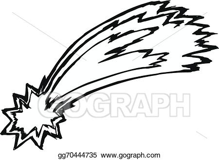 Asteroid clipart sketch. Vector art comet drawing