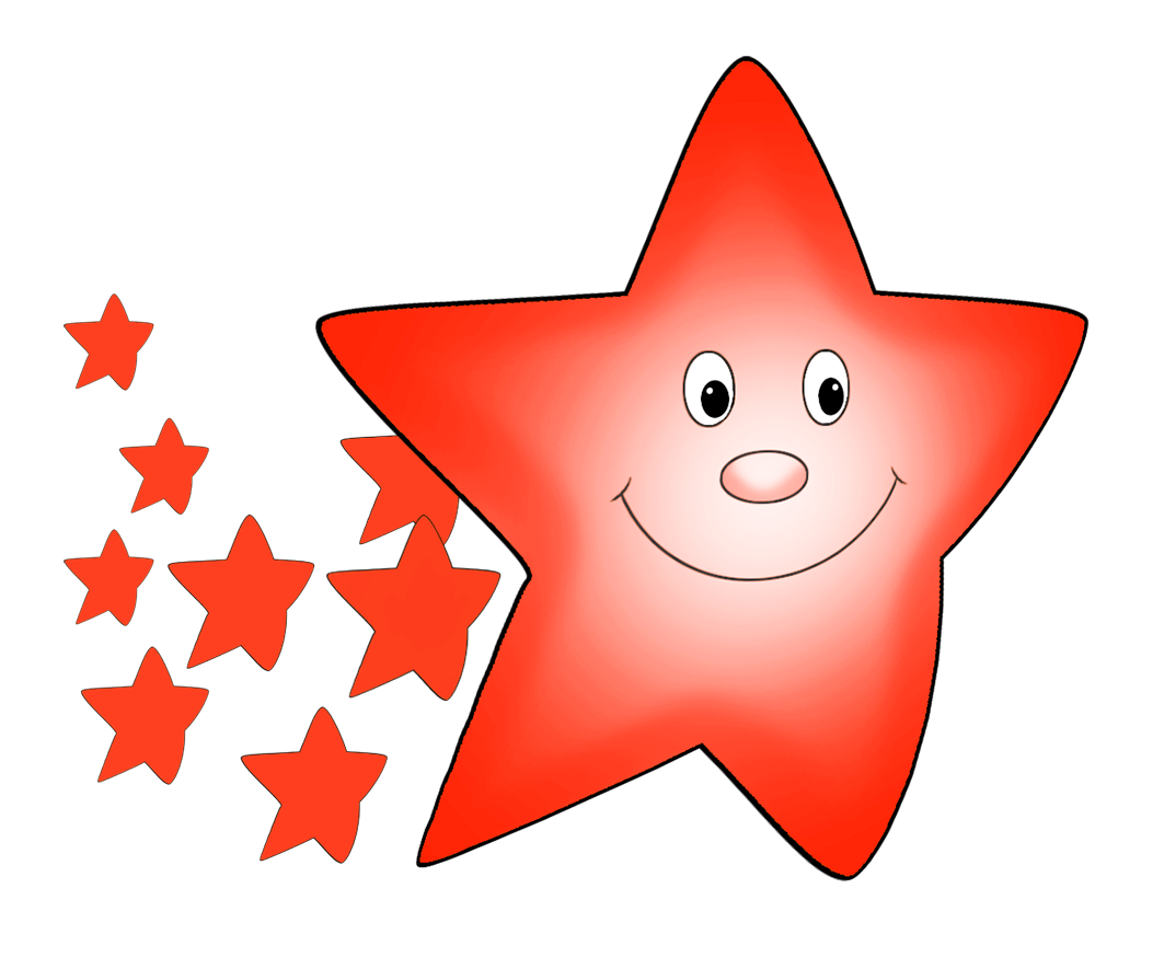 Star orange with smaller. Comet clipart drawn