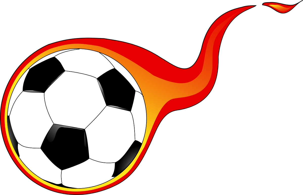 Soccer ball with flames. Manager clipart clip art