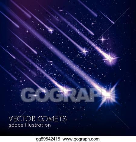 Vector art background drawing. Comet clipart meteor shower