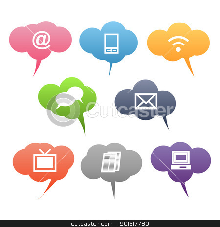 Colored symbols stock vector. Communication clipart